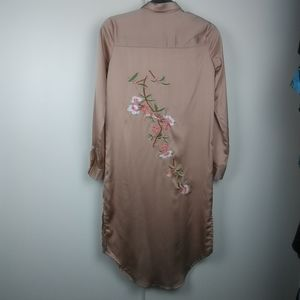 Missguided floral embroidered shirt dress size 4